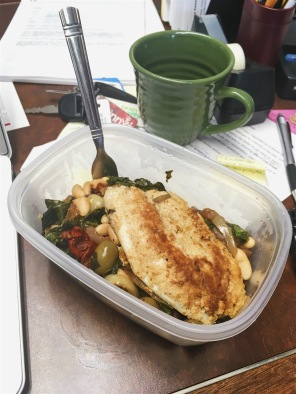 tilapia, desk lunch,