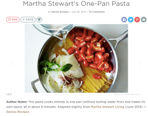 martha stewart living, one pan pasta,